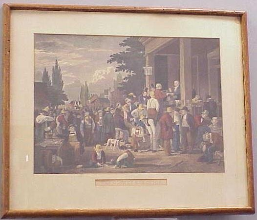1020: HAND COLORED ENGRAVING, COUNTRY ELECTION, 19THC