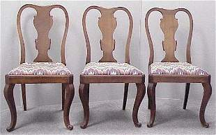 (3) QUEEN ANNE STYLE CARVED WALNUT SIDE CHAIRS