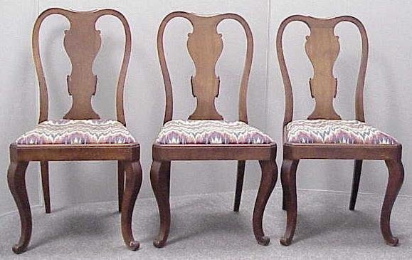1023: (3) QUEEN ANNE STYLE CARVED WALNUT SIDE CHAIRS