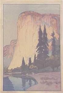 1155: JAPANESE WOODBLOCK, EL CAPITAN, HIROSHI YOSHIDA