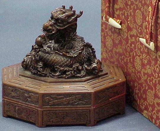 1331: CHINESE HARDSTONE DRAGON SEAL WAX CONTAINER