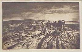 """1379: ETCHING, """"CLOUDY DAY"""", SIGNED JOHN E. COSTIGAN"""