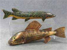 LOT (2) ASSORTED VINTAGE FISH DECOYS