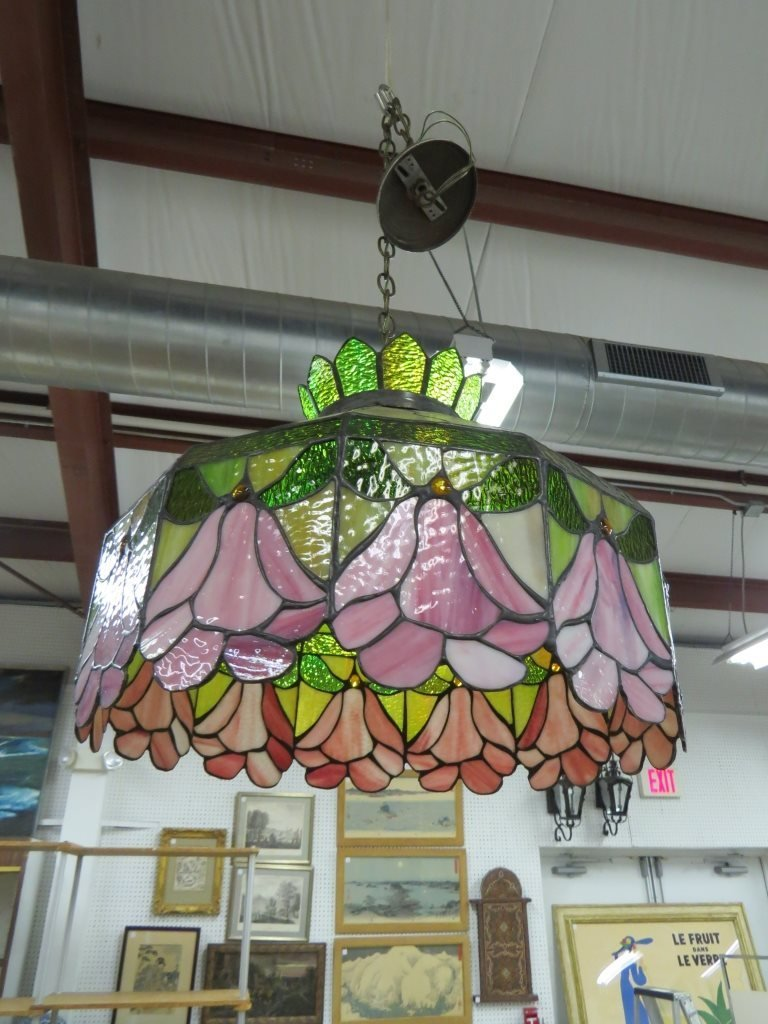 SLAG AND STAINED GLASS HANGING DOME FIXTURE