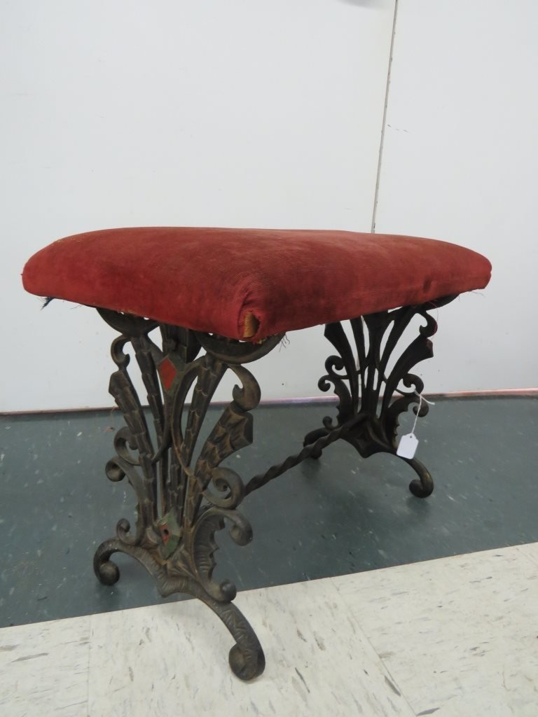 ART DECO PAINTED CAST IRON SMALL BENCH
