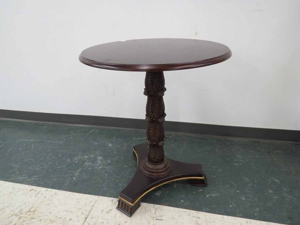 FRENCH EMPIRE STYLE CARVED MAHOGANY PEDESTAL TABLE