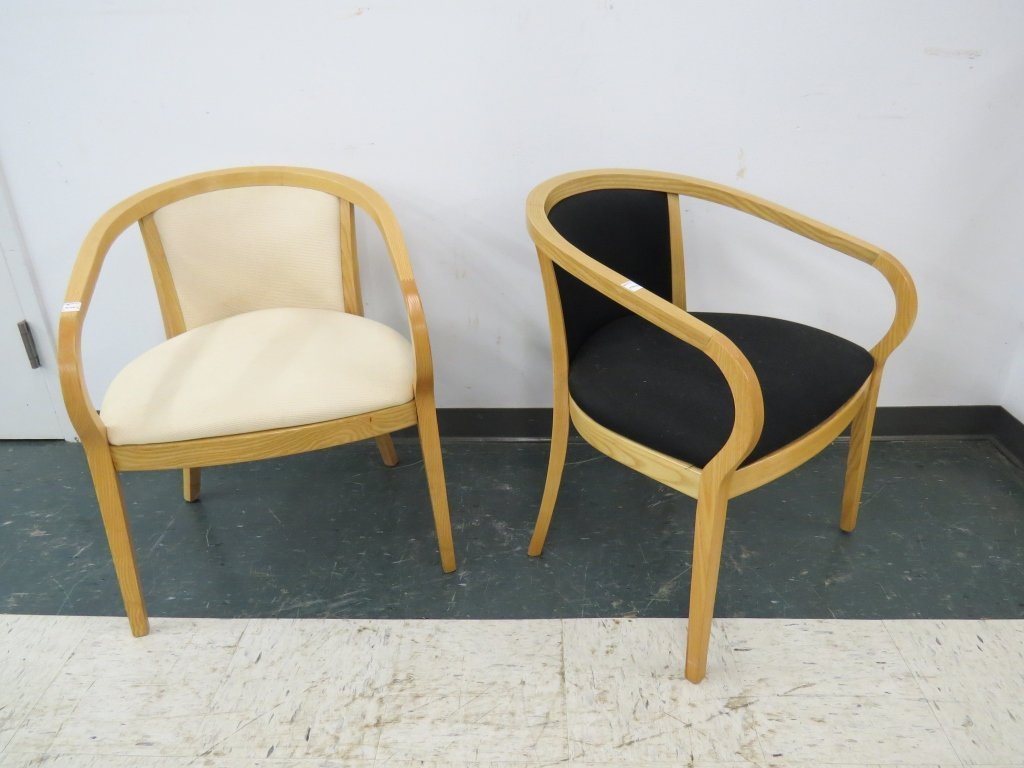 PAIR MODERN KNOLL STYLE WOOD UPHOLSTERED ARMCHAIRS