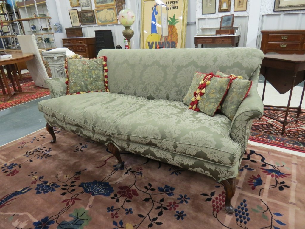 QUEEN ANNE STYLE MAHOGANY UPHOLSTERED SOFA