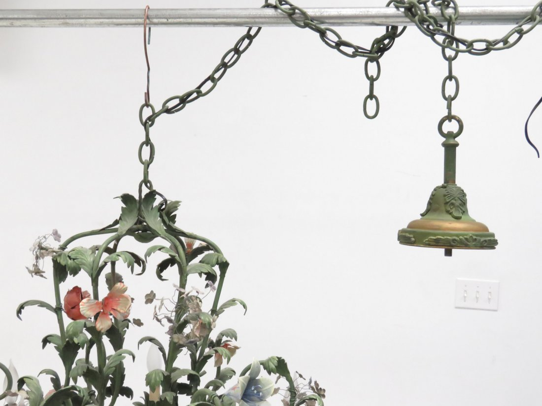 FRENCH HAND PAINTED TOLE CHANDELIER - 10