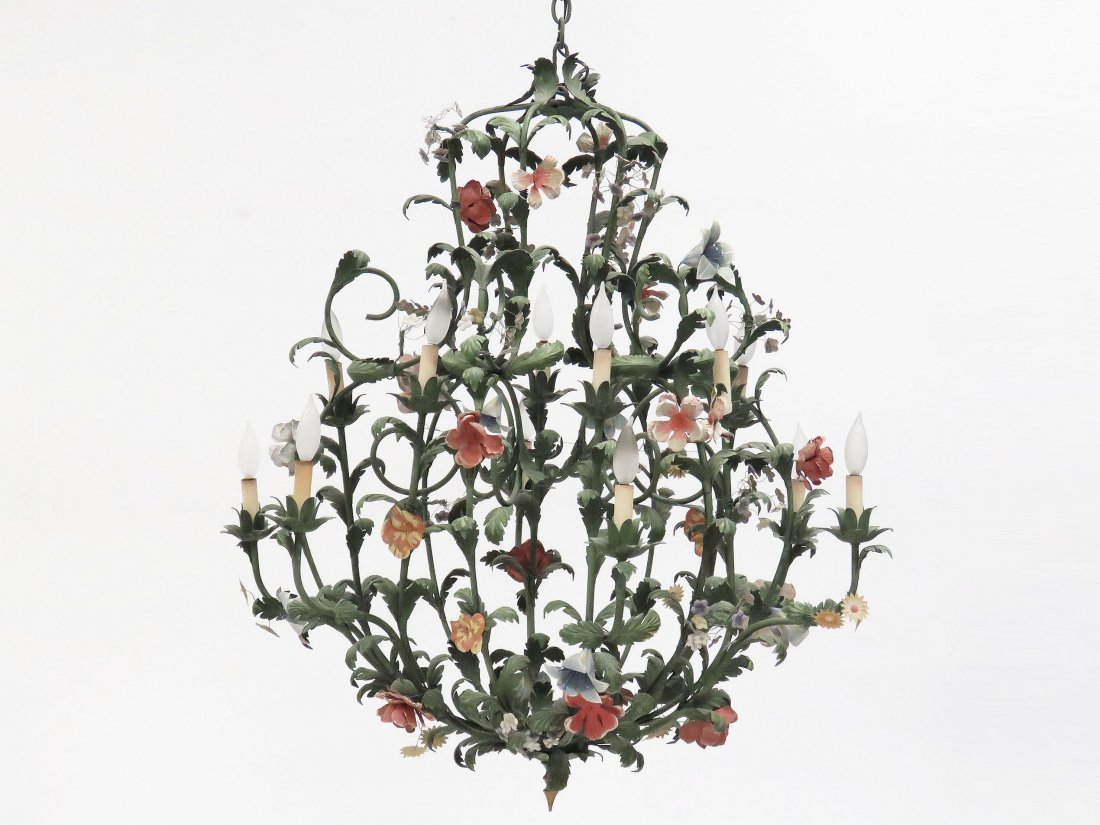 FRENCH HAND PAINTED TOLE CHANDELIER
