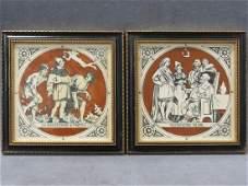 LOT (2) ENGLISH ARTS & CRAFTS GLAZED CERAMIC TILES