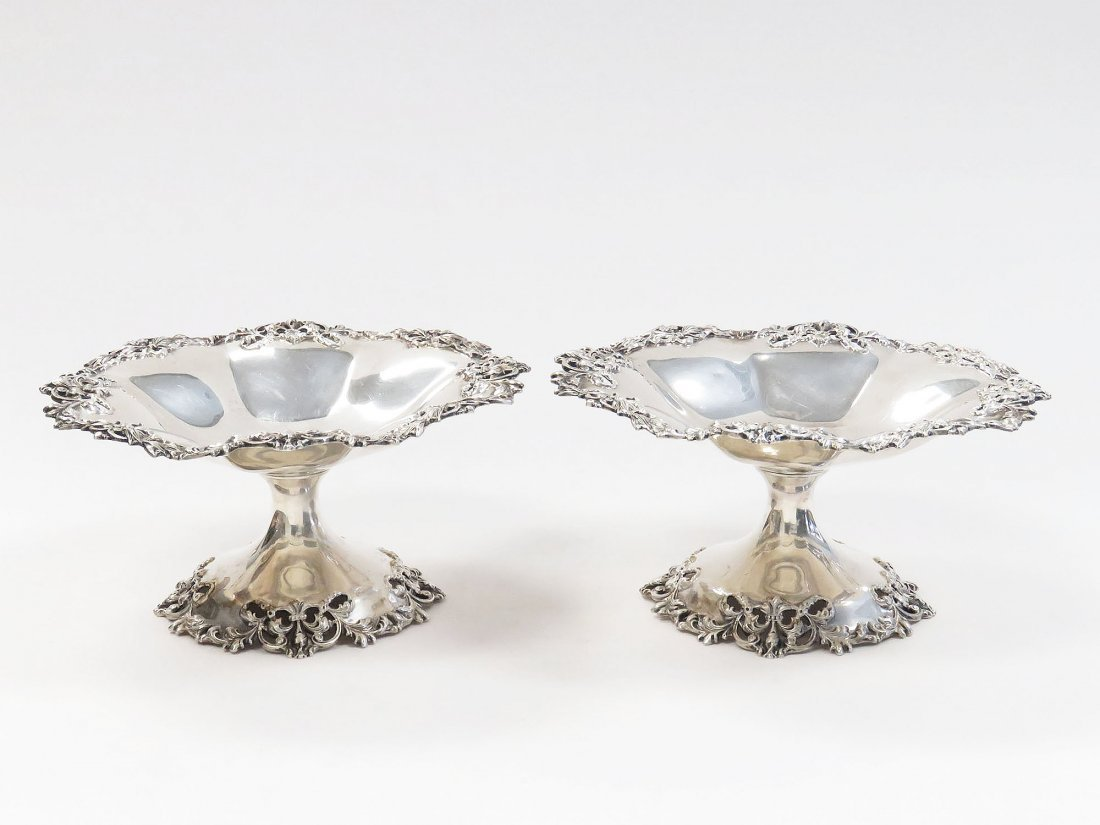 PAIR THEODORE STARR STERLING COMPOTES