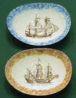 1002: PAIR ENAMELED COPPER SAILING SHIP BOWLS