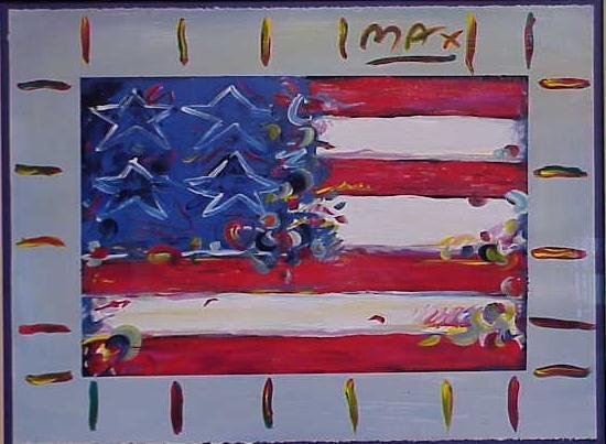 """1004: ACRYLIC/PAPER, """"AMERICAN FLAG"""", SIGNED MAX"""