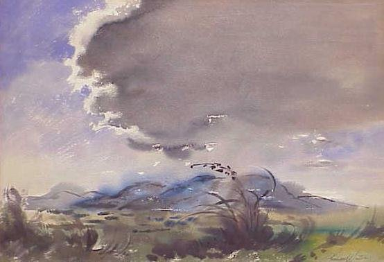 1008: WATERCOLOR, STORM OVER THE PLAINS, SIGN WINTER