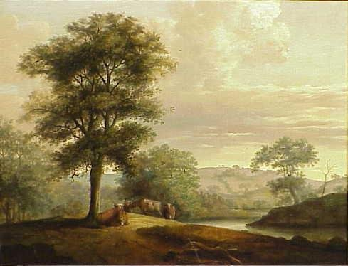 1016: OIL ON CANVAS, LANDSCAPE WITH COWS