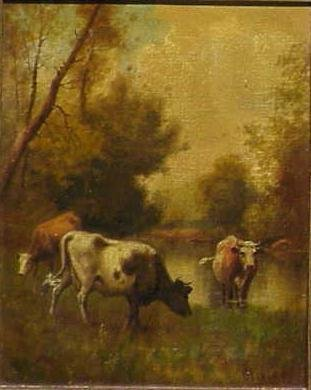1020: OIL ON CANVAS, CATTLE GRAZING, SIGNED OLIVIER