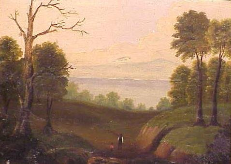 1024: OIL ON PANEL, HUDSON RIVER WITH FISHER