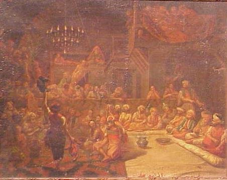 1087: OIL ON CANVAS, THE MULLA'S ENTERTAINMENT