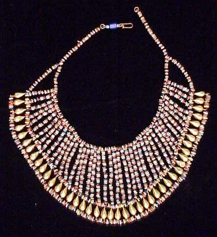 1090: EGYPTIAN GLASS/GOLD BEADED COLLAR