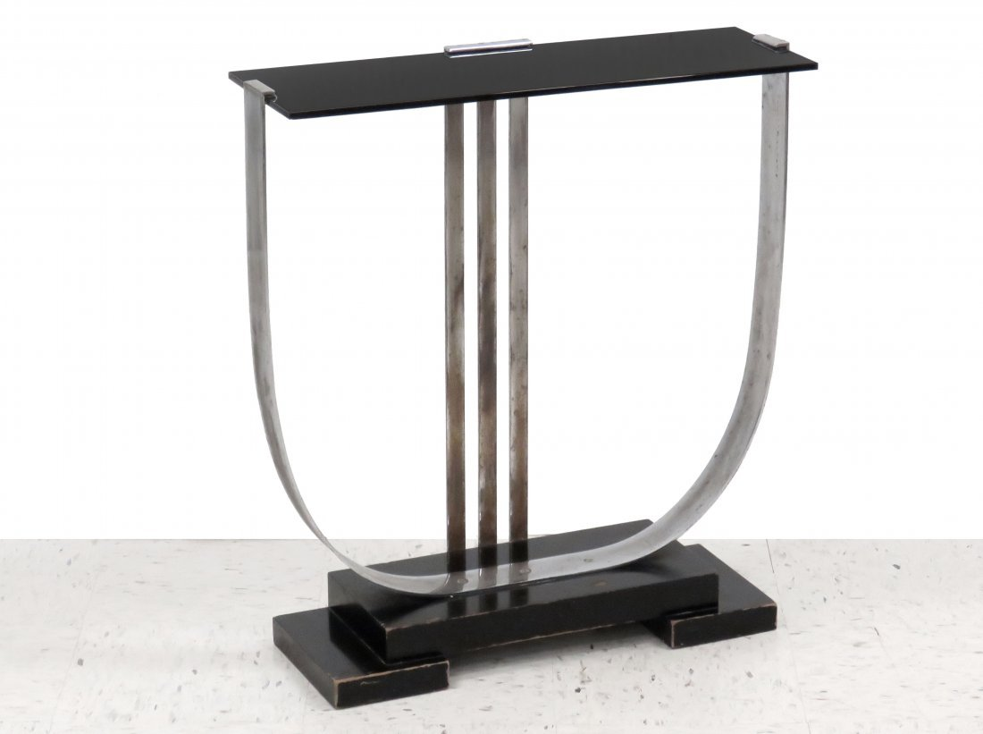 PAUL FRANKL, ART DECO SKYSCRAPER SERIES LYRE TABLE