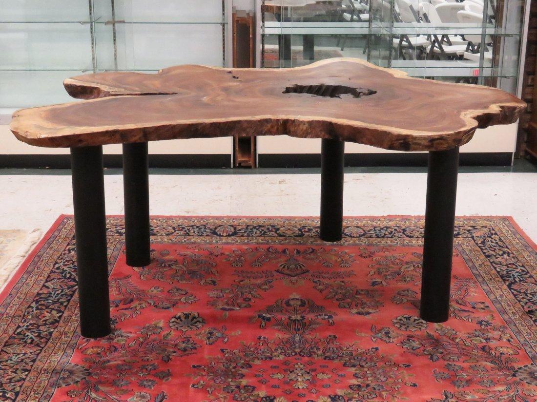 EXOTIC TEAK WOOD SLAB TABLE ON STEEL LEGS