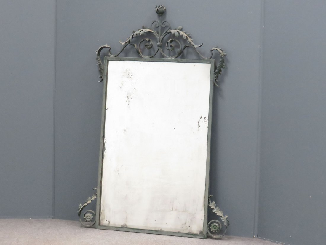FRENCH STYLE PATINATED WROUGHT IRON FRAMED MIRROR