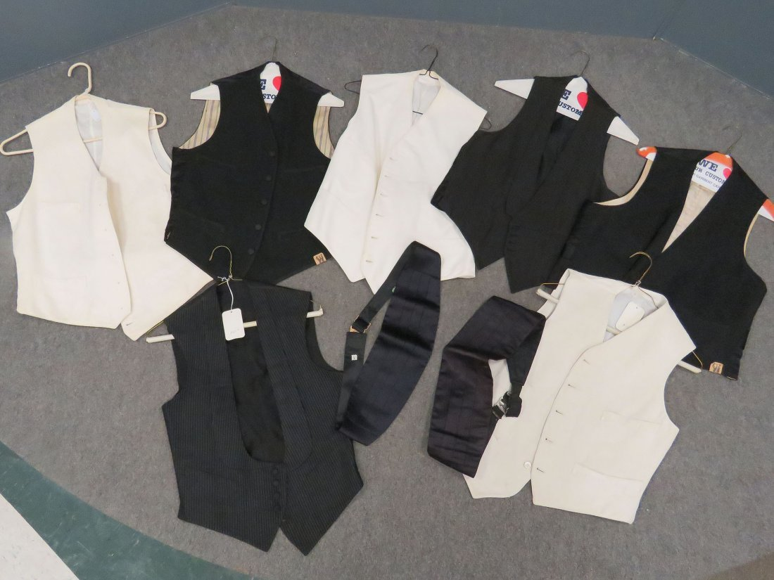 LOT (9) VINTAGE TUXEDO VESTS AND ACCESSORIES