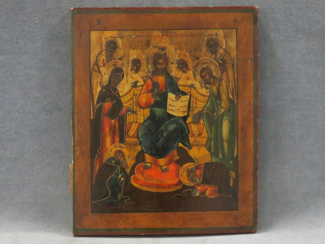 RUSSIAN ICON ON WOOD PANEL, JESUS ENTHRONED
