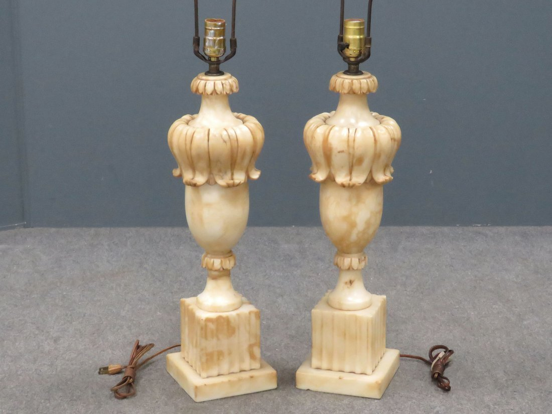 PAIR VINTAGE CARVED MARBLE TABLE LAMPS