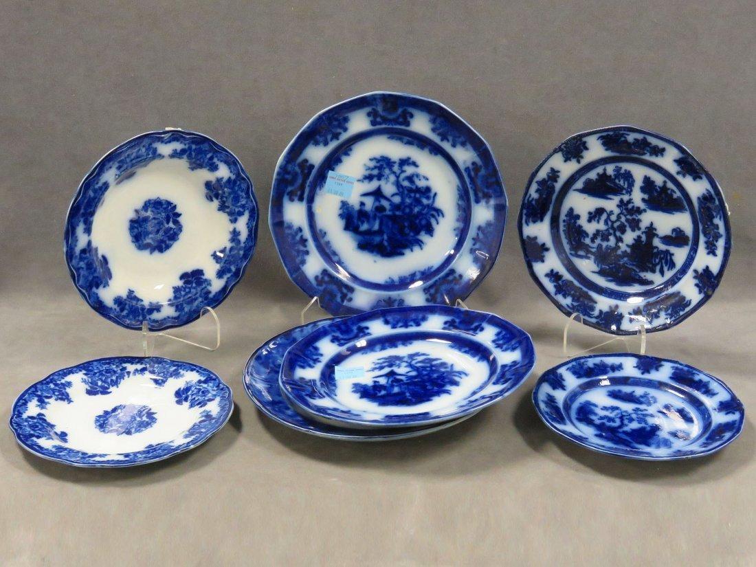 LOT (7) ASSORTED FLOW BLUE PLATES