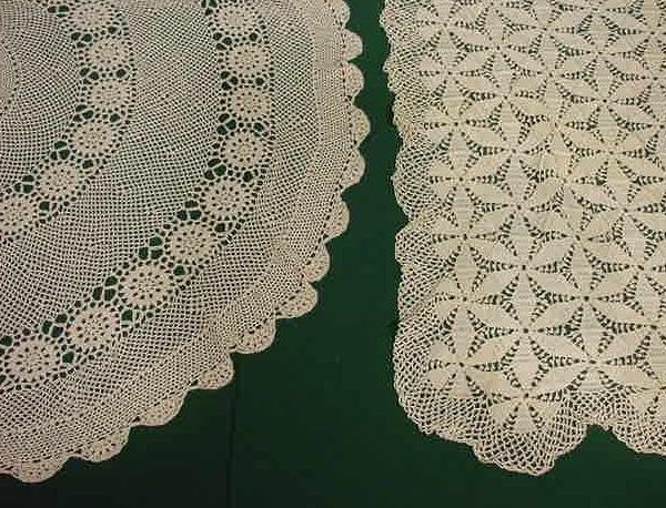 9: LOT (2) COTTON CROCHETED TABLE CLOTHS