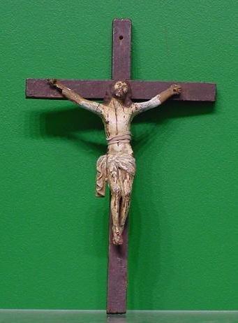 21: SPANISH COLONIAL CARVED/POLYCHROME CHRISTOS