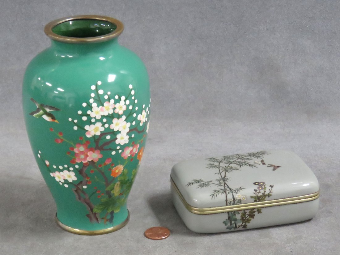 LOT (2) JAPANESE CLOISONNE INCLUDING COVERED BOX