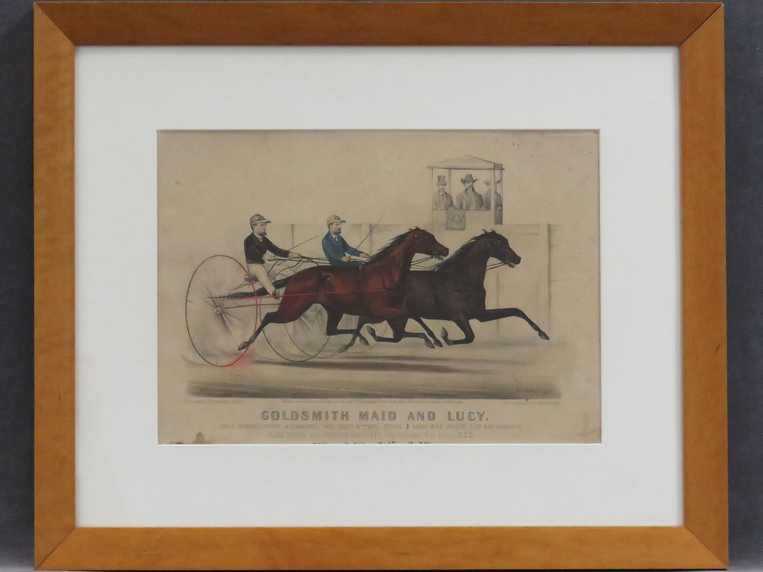 CURRIER & IVES LITHOGRAPH, GOLDSMITH MAID AND LUCY