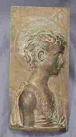BRONZE RELIEF YOUNG ST JOHN THE BAPTIST