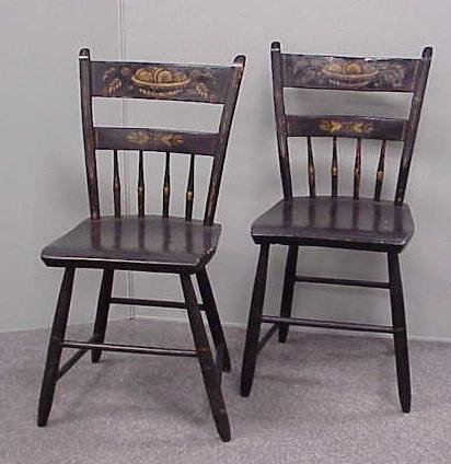 15: PR PLANK SEAT STENCILED/PAINTED CHAIRS