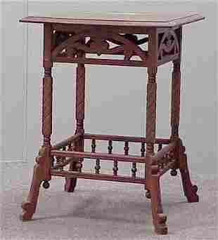 AESTHETIC CARVED OAK PARLOR STAND