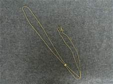 """VICTORIAN GOLD FILLED WATCH SLIDE CHAIN. LENGTH 50"""""""