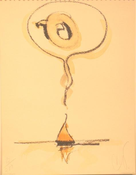 """6: LITHOGRAPH """"SAILBOAT THINKING OF Q"""", SIGNED C.O."""