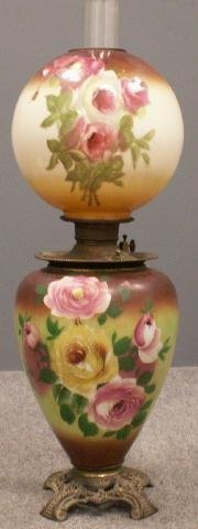 11: VICTORIAN HAND PAINTED BANQUET LAMP