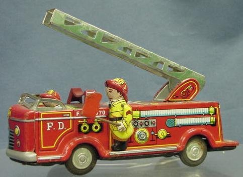 14: VINTAGE TIN LITHO FIRE TRUCK FRICTION TOY