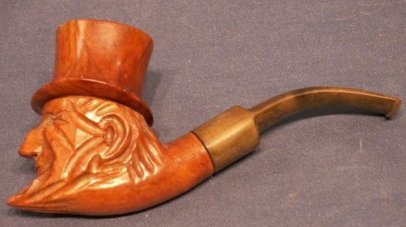 """398: VINTAGE CARVED ITALIAN BRIAR, """"ABE LINCOLN"""" PIPE"""