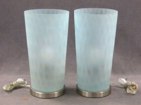Pair Satin Glass Vases, Mounted As Lamps. Height 15