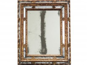 Fine Italian Carved And Gilt Framed Mirror, 17th