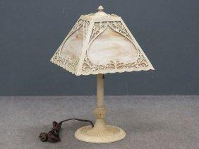 Vintage Miller Painted Metal Slag Glass Table Lamp.