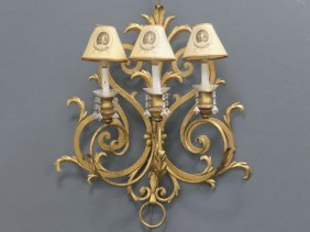 "French Style Gilt Wrought Iron 3-arm Sconce. Height 26"";"