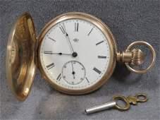 VINTAGE ELGIN GOLD FILLED KEY WIND HUNTER CASE POCKET