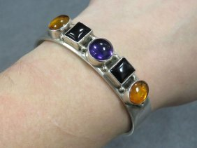Ray Bennett (navajo) Sterling, Amethyst, Onyx And Amber