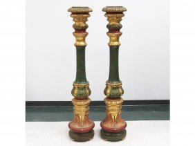 Pair Venetian Style Polychromed And Gilt Columns.